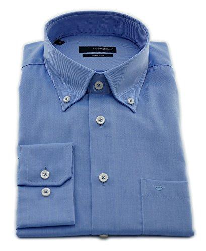 Seidensticker Herren Langarm Hemd Splendesto Regular Fit Button-Down-Kragen blau strukturiert 188672.13 Blau