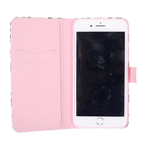 iPhone 7 Plus Lederhülle,iPhone 7 Plus Hülle,JAWSEU Elegante Pink Rose Pu Leder Magnetverschluss Kunstleder Handytasche Brieftasche Bookstyle Rückschale Handyhülle Schutzhülle Etui Case mit[Ständerfun Pink Rose