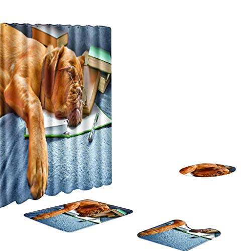 Xmiral Duschvorhänge Badezimmerteppich U-Pad über WC-Sitzkissen 4 Stück Satz Haustier Hund Serie(B)