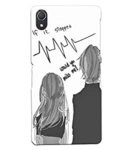Fuson Love Couple Back Case Cover for SONY XPERIA Z2 - D3926