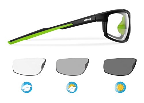 BERTONI Photochrome Selbsttönende Windschutz Sport Sonnenbrillen Radfahren Ski Laufen Golf Running by Italy - F180M Automatische Scheibentönung Fahrradbrillen Kat 0 bis 3