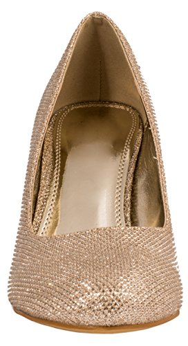 Elara Damen Pumps | Bequeme High Heels Glitzer | Hochzeit Stiletto Gold