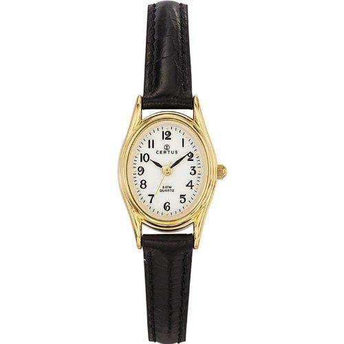 Certus 646541 - Reloj para mujeres, correa de cuero color negro