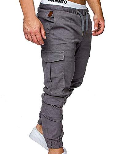 SANMIO Jogger Cargo Herren Chino Jeans Hose Herbst Winter Stretch Freitzeithose- Gr. EU S/ Etikettgröße: M, Grau
