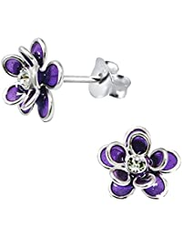 Beautiful Elegant Pair of Small Purple Sterling Silver Flower Stud Earrings with Cubic Zirconia Stone Centre