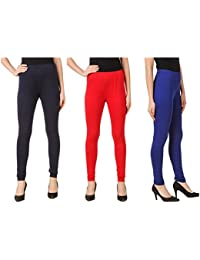 Svadhaa Royal Blue Navy Blue Red Cotton Lycra Leggings(Pack Of 3)
