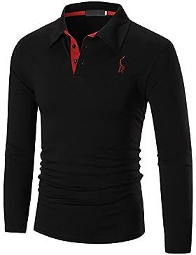 [Patrocinado]YCHENG Hombre Polo Manga Larga Moda Lujo Jirafa Bordado Contraste Collar Golf Camiseta