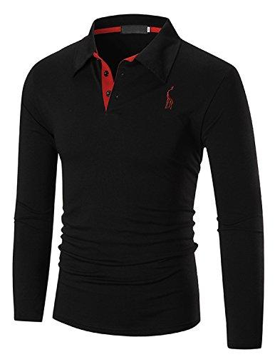 YCHENG Hombre Polo Manga Larga Moda Lujo Jirafa Bordado Contraste Collar Golf Camiseta Negro XL