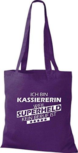 Shirtstown Stoffbeutel Ich bin Kassiererin, weil Superheld kein Beruf ist lila