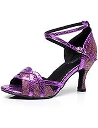 JSHOE Damen Tanzschuhe Latin Salsa/Tango/Tee/Samba/Modern/Jazz Schuhe Sandalen High HeelsPink-heeled5cm-UK55