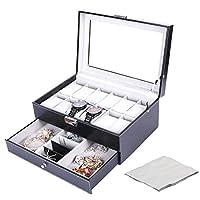 Watch Organizer Watch Box Jewelry Storage Box for Watch Jewelry Display with Jewelry Cleaning Cloth 12 Grides Double-Layer