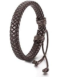 pulsera - SODIAL(R)Tejido a mano cuero pulsera largo 22.5cm marron