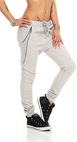 11007 Fashion4Young Damen Haremshose Hose Jogg-Pants Baggy Boyfriend Sweat-Material Grau