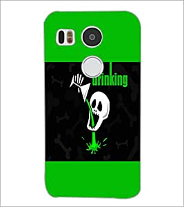 PrintDhaba Funny skull D-4054 Back Case Cover for LG NEXUS 5X (Multi-Coloured)