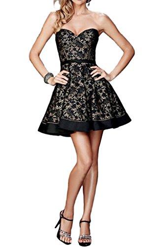 ivyd ressing Damen popolare a linea di pizzo a forma di cuore breve Prom abito party vestito abito da sera Nero