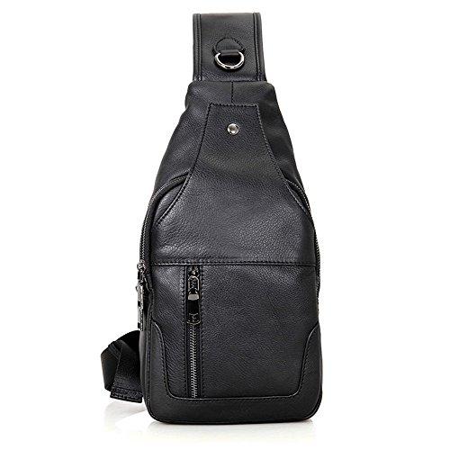 AFCITY Herren Sling Bag Echtes Leder Brust Schulter Rucksack Cross Body Handtasche Wasserdicht Anti-Diebstahl für Reisen Wandern Schule (Farbe : Schwarz)