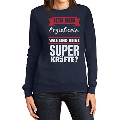 Geschenke für Erzieherinnen - Erzieherin Superkräfte ? Frauen Sweatshirt Medium Marineblau
