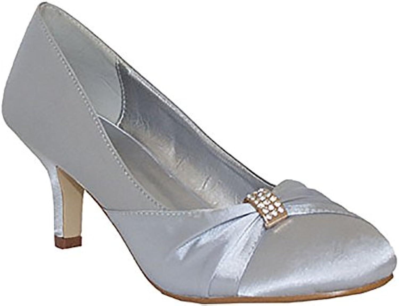 39be3457f7b Ladies Chix Satin Diamante Kitten Heel Low Low Low Bridal Wedding Smart  Prom Party Court Shoes Size 3-8 (UK 4