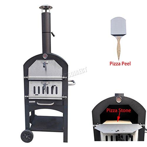FoxHunterPOS01 Forno per pizza portatile in acciaio con pietra alimentato con legna per esterni, giardino, terrazza, per barbecue al carbone, grill, con canna fumaria,nero