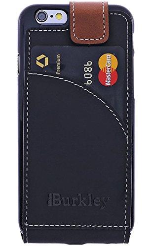 burkley Étui en cuir pour le Apple iPhone 6/6S dans 4.7Flip Case Coque avec compartiment carte de crédit et fermeture magnétique en cuir de vache véritable Style vintage Schwarz-tabba