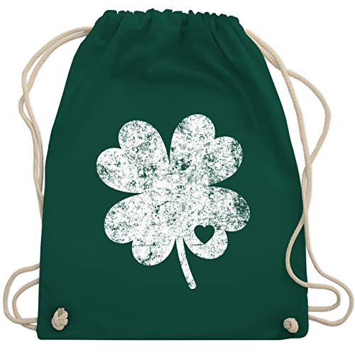 St. Patricks Day - Vintage Kleeblatt mit Herz - Unisize - Dunkelgrün - WM110 - Turnbeutel & Gym Bag (St Patrick Saint Kostüm)
