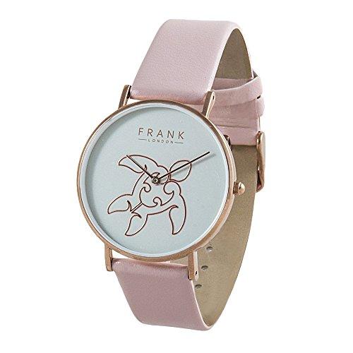 FRANK London Damen Rose Gold Meer Schildkröte Quarzuhr mit Pink Leder Strap und grau Zifferblatt