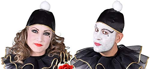 narrenkiste M218303 schwarz-weiß Mütze Pierrot Clown Hut Einheitsgröße