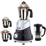 Rotomix Silver Black Color 600Watts Mixer Juicer Grinder with 4 Jar (1 Black Juicer Jar with Filter, 1 Large Jar, 1 Medium Jar and 1 Chuntey Jar)(RTM_600W_ButMet-SlvBlk_4JBK_MG18-MA)
