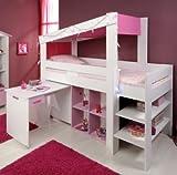 Mädchen Kinderzimmer-Hochbett 90x200 mit Schreibtisch Weiss Pink Parisot