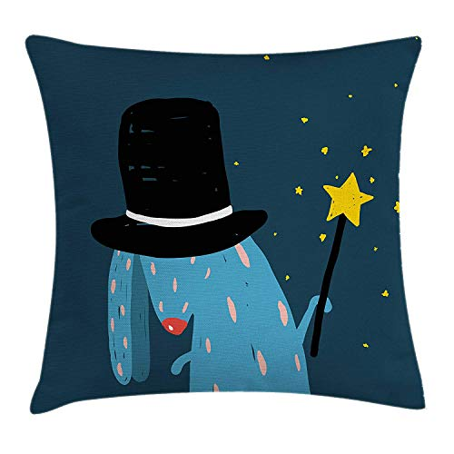 VVIANS Quirky Decor Throw Pillow Cushion Cover by, Rabbit with Black Hat Magic Wand Doing Tricks Bizarre Cartoon Style Artwork, Decorative Square Accent Pillow Case, 18 X 18 Inches, Multicolor