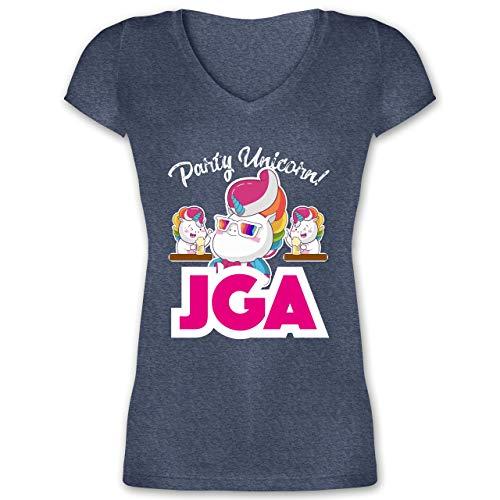 aca89191c1 JGA Junggesellinnenabschied - JGA Party Unicorn - XXL - Dunkelblau meliert  - XO1525 - Damen T-Shirt mit V-Ausschnitt