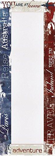 Artland Wand-Flur-Spiegel mit 25mm Facetten-Schliff Deko Modell-Rahmen digital bedruckt Jule Reisen Statement Bilder Sprüche & Texte Graphische Kunst Creme 140,4 x 50,4 x 1,6 cm