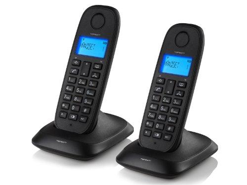 Topcom TE-5732 schnurloses DECT-Telefon (2-er Set) schwarz (Mobilteile 3 Telefon-sets,)