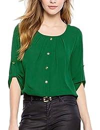 59baa4e66c4ef7 ABCone-Donna Pullover Felpa Signora Sciolto O-Collo Solido T-Shirt Maniche  Lunghe