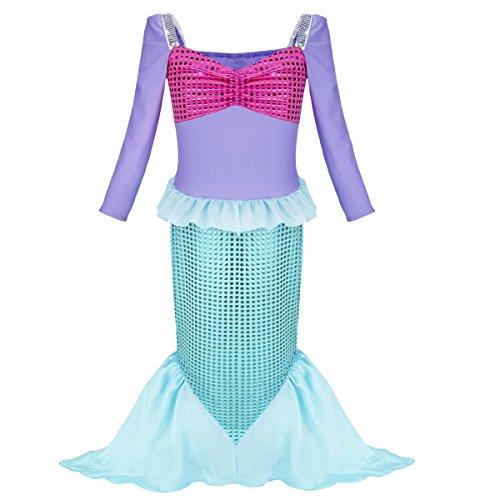 FEESHOW Mädchen Pailletten Kleine Meerjungfrau Kostüm Kinder
