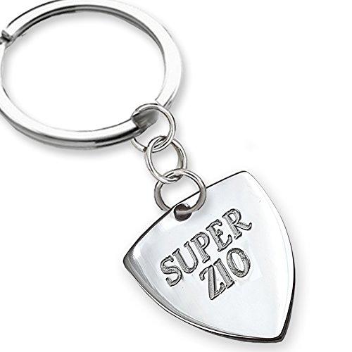 Portachiavi in argento Super Zio, idea regalo per gli zii. Regalo zio.