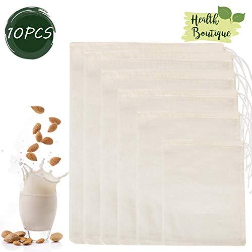 WENTS Filtertuch 10Pcs Nussmilchbeutel Filtertuch Käsetuch Filtertuch Wiederverwendbare Filterbeutel Colander and Cloth Home Kitchen Supplies Baumwolle Täglicher Gebrauch
