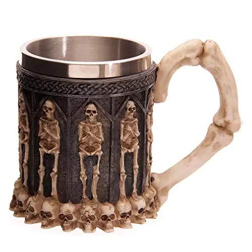 happy event Halloween Schädel-Krug Tasse Kaffee | Cool Edelstahl Tee Tasse Tasse | 3D Design Tassen | Skull Coffee Tea Mug Cup (B) -