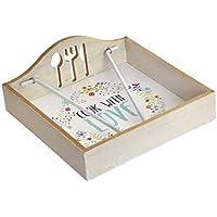 Vily\'s House Servilletero Mesa para servilletas Papel en Madera Decorada Cook with Love (Disponible en Dos Modelos) 18x18x7 (Modelo A)