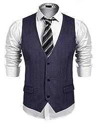 Burlady Weste Herren Anzug Western Weste Ärmellose V-Ausschnitt Slim fit Anzugweste Business Hochzeit Blau L