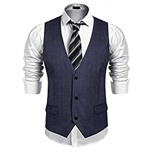 Burlady Herren Weste Anzugwesten Slim fit Anzug V-Ausschnitt Ärmellose Knöpfe Brusttasche Business Hochzeitskleid