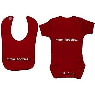 Acce Products mmm Boobies Baby Grow Bodysuit Romper & Feeding Bib - 12-18 Months - Red