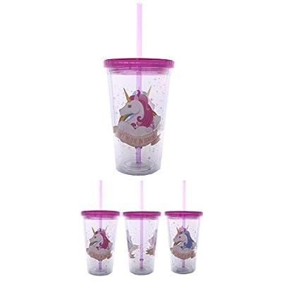 Puckator CUP06 Verre en Plastique avec Paille et Couvercle Design Licorne Plastique Rose Blanc/Transparent 10 x 10 x 16 cm