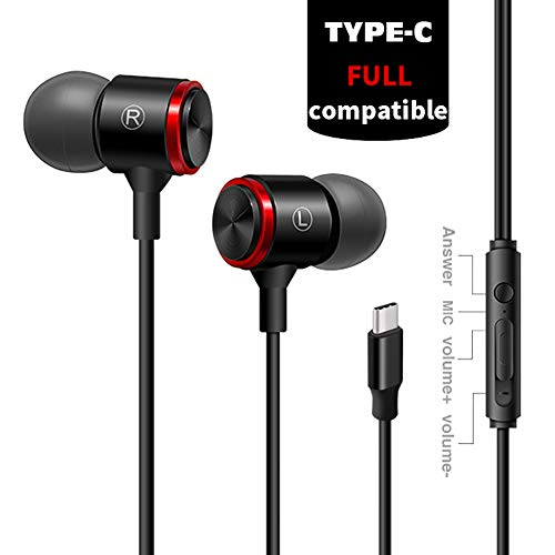 LM Gaming-Headset Typ-C-Kopfhörer Earbuds 3D-Stereo-Rauschunterdrückung Eingebaute Mikrofone und Lautsprecher Metalldrahtsteuerung Geeignet für Xiaomi Huawei etc