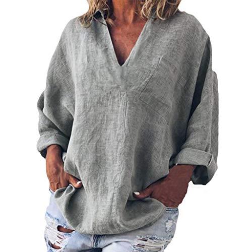 Bellelove Damen T-Shirts Baumwolle Leinenhemd Chic Einfache High Jacquard Tops Tunika V-Ausschnitt Langarm Bluse Einfarbig Top Jacquard Crop Hose