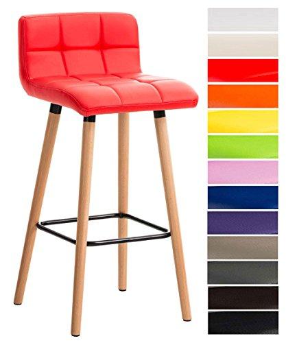 Clp sgabello bar lincoln in similpelle trapuntata e telaio in legno di faggio i sgabello alto da cucina con seduta 75 cm i sedia alta da bancone con schienale e poggiapiedi rosso
