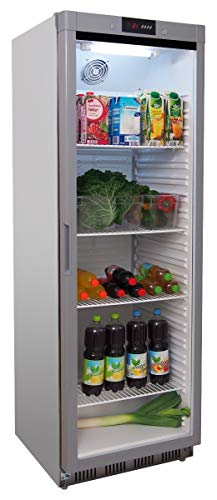 hrank ECO 400 RG s/s - Edelstahl - Gastro Kühlschrank mit Glastür - R600A - Digitales Thermostat ()