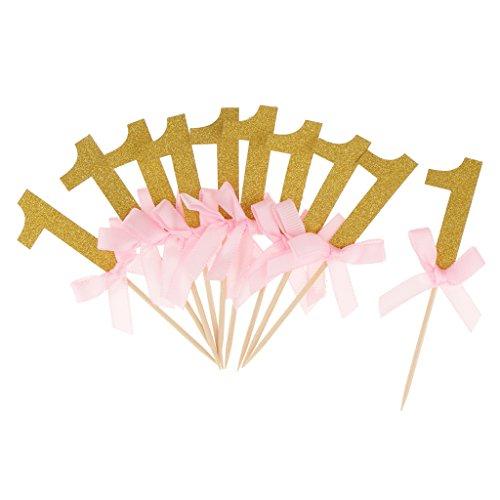 Gazechimp 12 Stück Kuchenstecker Kuchendeckel Cupcake Zahnstocher Tortenstecker Kinder 1. Geburtstag Dekor - Gold