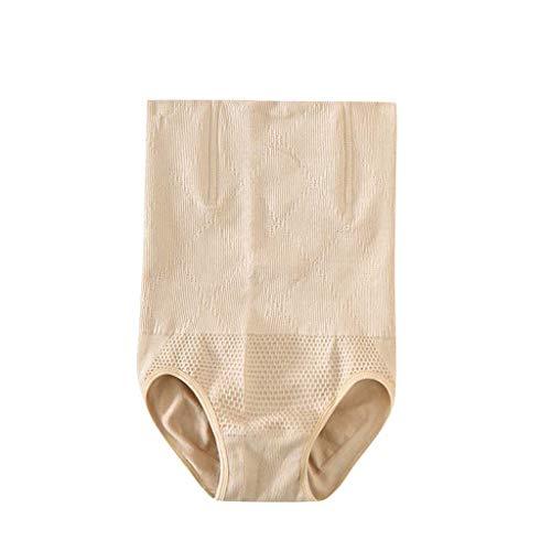 IZHH Damen Shapewear Shorts Brilliance Hohe Taille Höschen Mitte des Oberschenkels Body Shaper Bodysui Baumwolle Bauchhosen Kopf Abnehmen Formende Körperhosen Kunststoff Postpartum(Beige,L) -