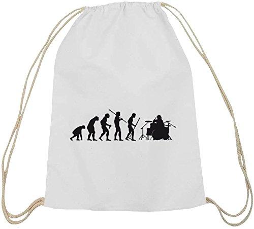 Shirtstreet24, EVOLUTION DRUMMER, Schlagzeuger Baumwoll natur Turnbeutel Rucksack Sport Beutel weiß natur